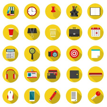 Modern flat icons vector collection with long shadow effect in stylish colors of business elements. Isolated on white background.