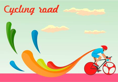 At competitions in cycling road, vector Illustration