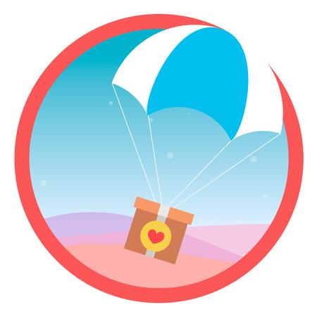 Het verzenden van een geschenk vliegt naar parachute in de lucht. Vector. icoon.