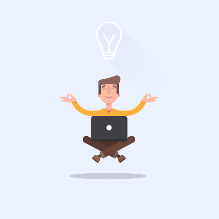 came: Man sitting in lotus position with laptop and came up with the idea of how to do a better job.
