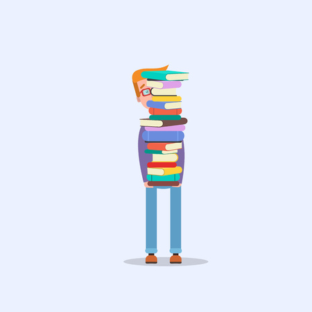 A man carrying a pile of books for knowledge