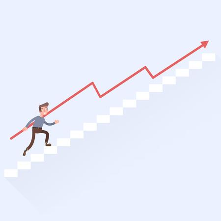 career up: Man climbs up the career ladder EPS 10 vector. flat.