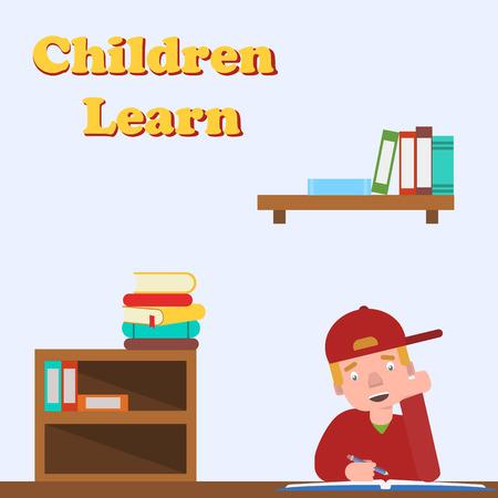 school canteen: Niño de hacer la tarea. Vectores
