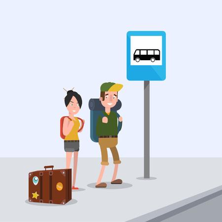 Amantes están esperando el autobús en la parada e ir al viaje Foto de archivo - 61611070