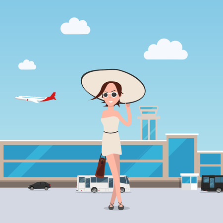 Girl goes throng the airport with luggage. Illustration