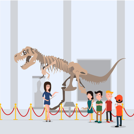 The children went on a tour with the teacher in the museum. Standing in the hall near the dinosaur. Illustration