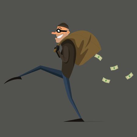 plunder: Thief steals a bag of money, cartoon, flat style set.