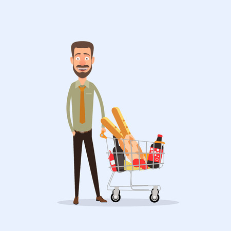 A cartoon man standing with a basket full of products.