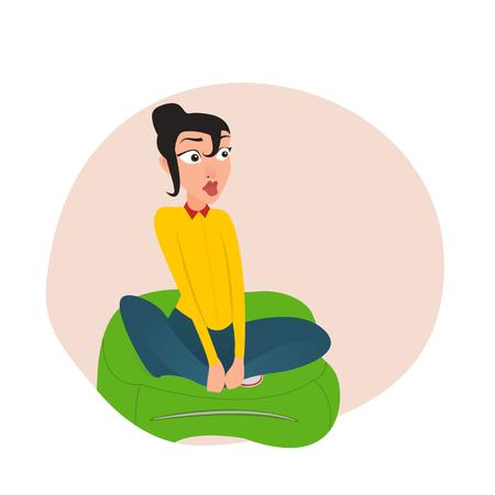 Girl sitting in the Kremlin bag. EPS 10. vector. cartoon Illustration
