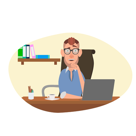 Cartoon worker is sitting at the workplace. Illustration
