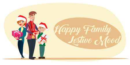 Happy family holding Christmas gifts in hands. Cartoon Illustration