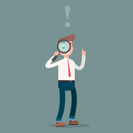 Homme d'affaires en regardant à travers une loupe. Vector illustration Vecteurs