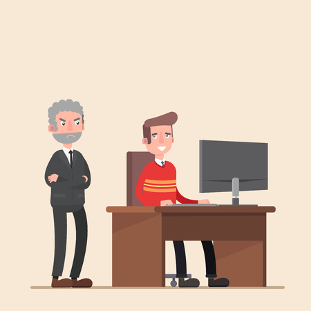 side viewing: The boss is on the employee. Tired business man. Illustration