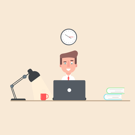 sitting at table: businessman working at laptop in the workplace. The man is sitting, table with books, lamp. office. The flat style of illustration. Illustration