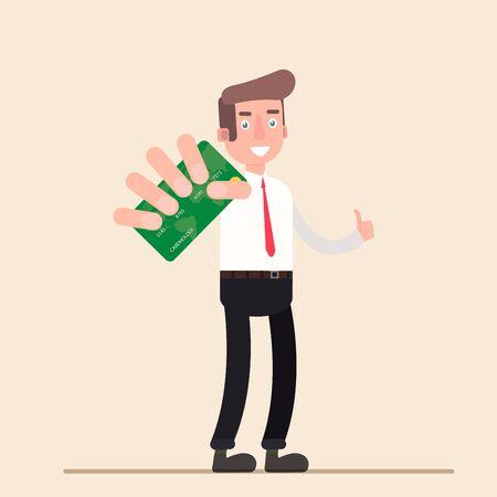 Businessman shows credit card.