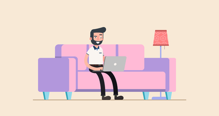 laptop home: freelancer working at home with laptop computer on cozy sofa. Illustration