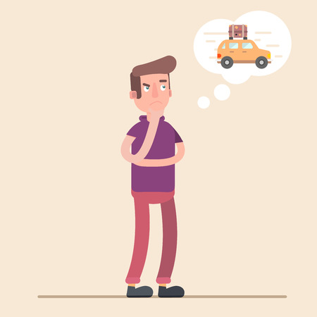 spend: Man dreams of a car. Money to spend. Vector cartoon illustration. The design  the character. Nice .
