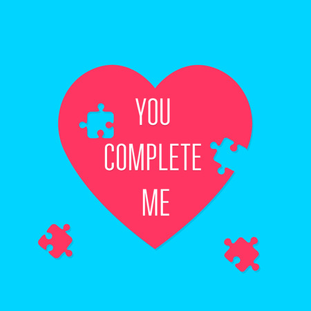 heart puzzle: You complete me. Heart sign. Valentines Day. Puzzle pieces. Icon concept of love. Vector illustration, isolated on a blue background for your design greeting card. Illustration