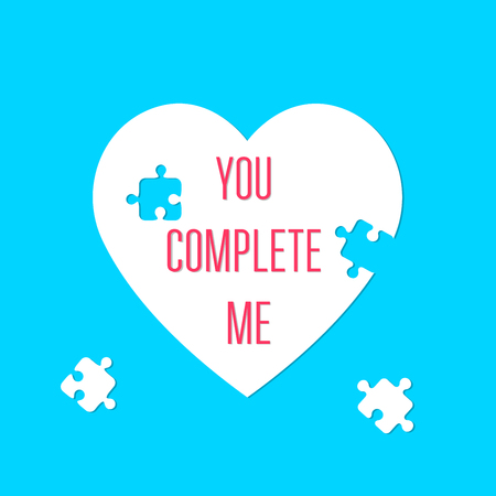 You complete me. Heart sign. Valentines Day. Puzzle pieces. Icon concept of love. Vector illustration, isolated on a blue background for your design greeting card. Ilustração