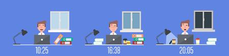 trabajador workaholic vida de los negocios en la oficina el día y la ilustración vectorial escena nocturna