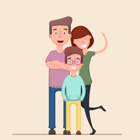 Happy family. Father, mother, son together. Vector illustration of a flat design. Flat Vecotr
