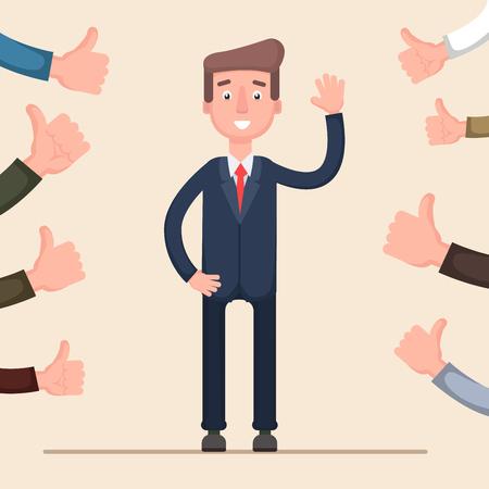 Gelukkige zakenman en vele handen met omhoog duimen. Creatieve vectorillustratie. Vector. Vlak.