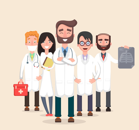 chest x ray: Doctors and other hospital staff. Medican team. Flat. Vector