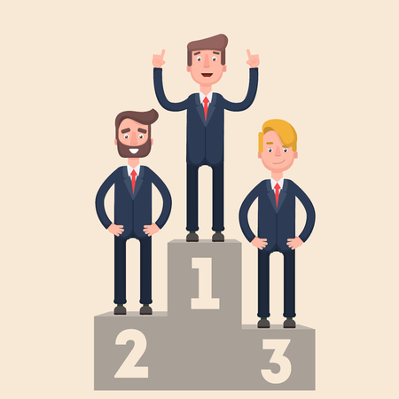 advantage: Businesspeople are standing on a podium. First place. Advantage.
