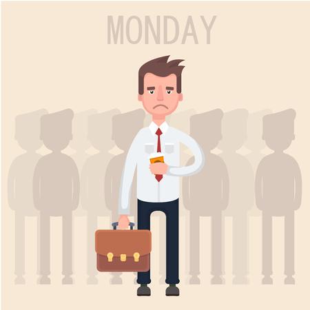 Werk is moe met een kopje koffie. Stock Illustratie