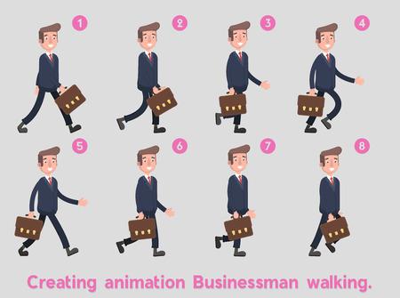 アニメーション フレームの上を歩くビジネスマン。