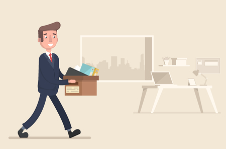 The businessman took a new job. Vector illustration in a flat style. Illustration