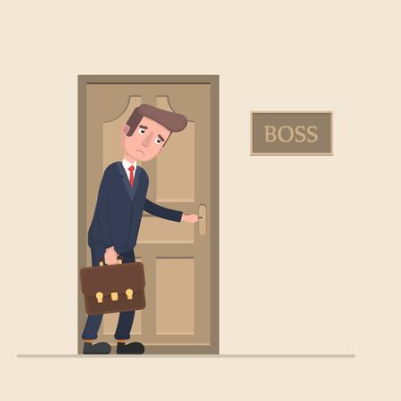 El trabajador tiene miedo de ir al jefe en la oficina.