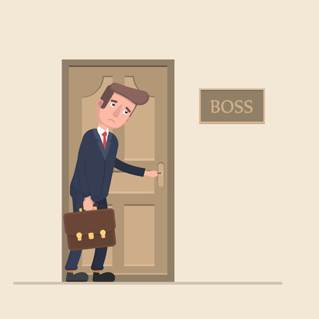 dismiss: The worker is afraid to go to the boss in the office. Illustration