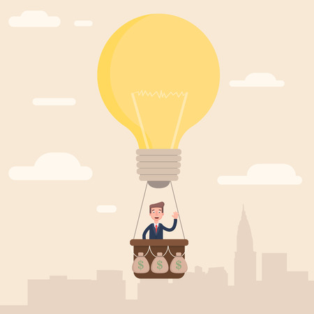 biz: The businessman flies to the top with his idea. Illustration