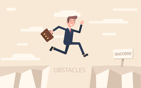 A businessman jumps over problems in order to succeed.