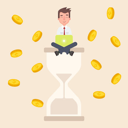 A businessman sits on an hourglass and earns money.