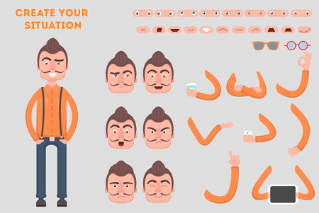 Man constructor. Separate part of male person. Vector illustration in a flat style. Illustration