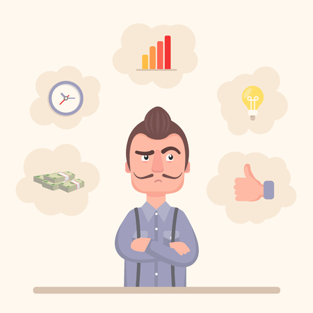 Pensive businessman, with icons of needs and goals around him: growth, idea, profi tability, speed, satisfaction.