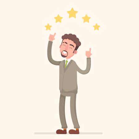 Businessman giving five star rating vector. Illustration
