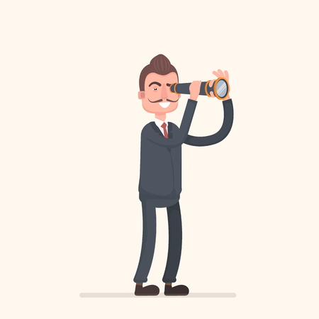 forefront: Businessman standing looking in a telescope. The success of the business concept and search capabilities.