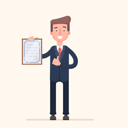 Standing business man holding certificate or diploma and showing thumbs up gesture. Vector illustration in a flat style.