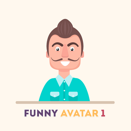 Attractive guy in a blue shirt, smiling amicable. Vector icons a flat style. Illustration