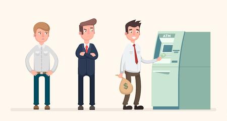 Mensen staan voor een salaris aan de geldautomaat.