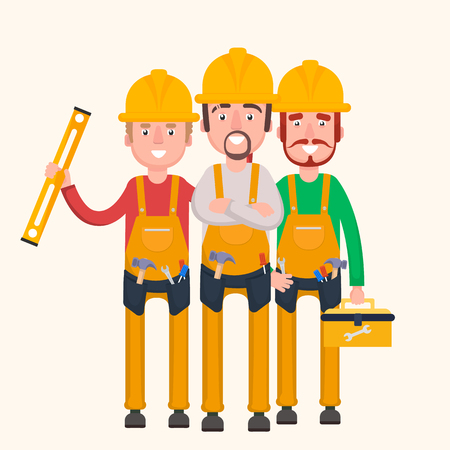 arquitecto caricatura: A group of workers are ready to work.