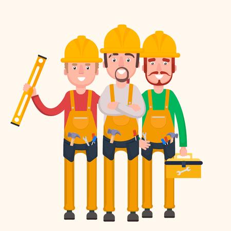 paysagiste: Un groupe de travailleurs est prêt à travailler.