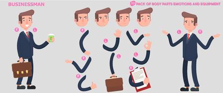 パーツはボディ デザインとアニメーションのためのテンプレートです。面白いオフィス男の漫画。  イラスト・ベクター素材