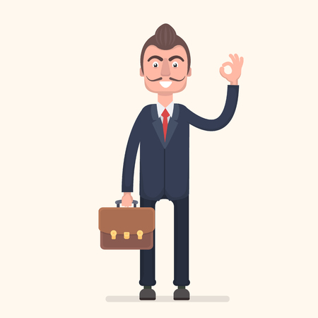 allright: A businessman with a diplomat shows that everything is fine. Vector illustration in a flat style