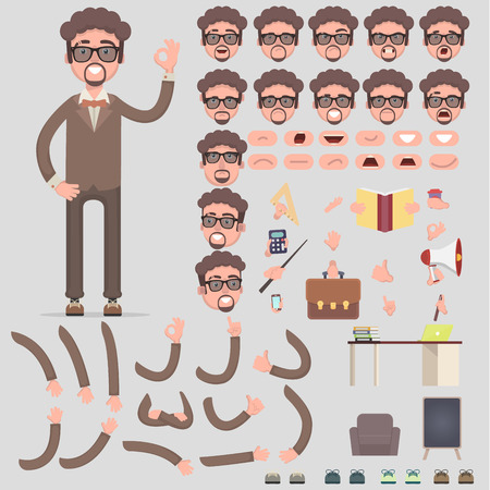 Creation of the managers character with different kinds, emotions of the person, poses and gestures. Cartoon style, flat vector illustration.Vector illustration in a flat style.