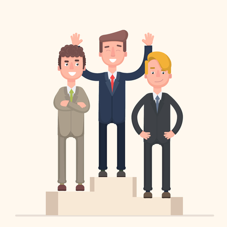 Business competition winner - people standing on the podium on the first, second and third place - career achievement.Vector illustration in cartoon style Illustration