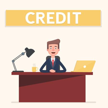 Banking clerk showing bank credit.